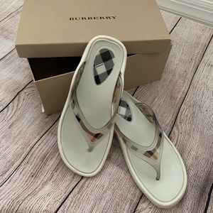 Burberry White Flip Flops